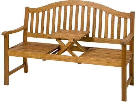 Holz Gartenbank Mit Klapptisch Holzbank Armlehnen