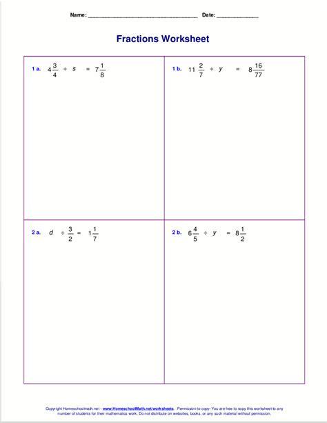 worksheets  fraction multiplication