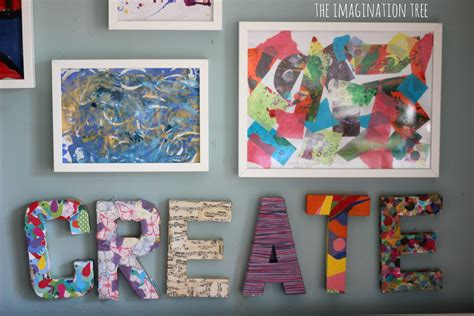 creative arts area and gallery for the imagination tree 249 | DIY wall art for the creative area