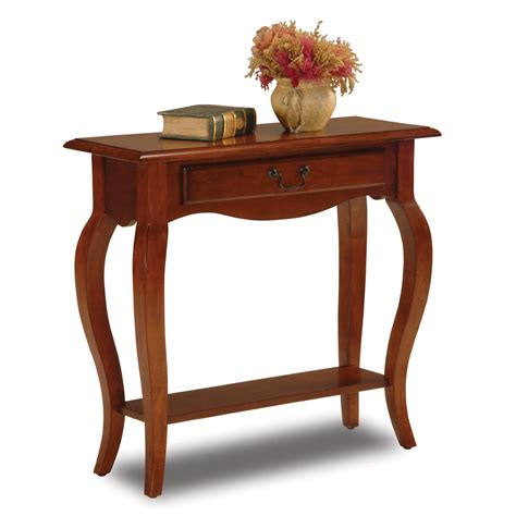 small brown table l leick french small console table brown cherry