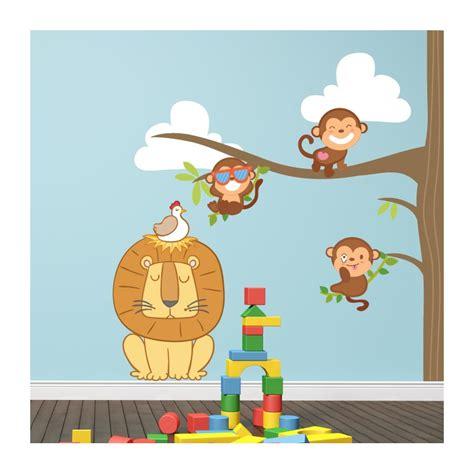 stickers chambre de bebe stickers chambre bébé arbre et petits singes pour votre