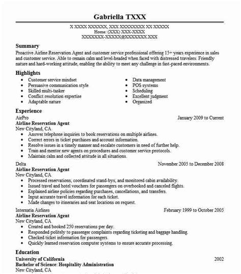 Resume For Airline by Airline Reservation Resume Sle Livecareer