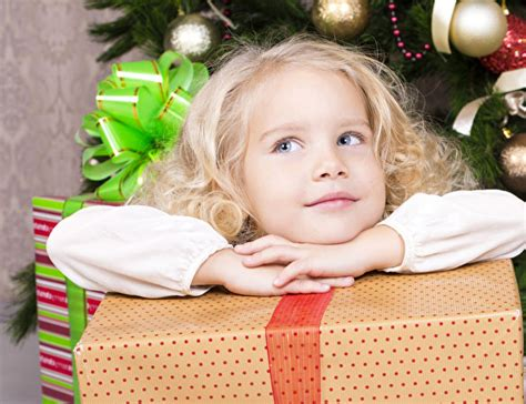 Pictures Little Girls New Year Children Face Gifts Glance
