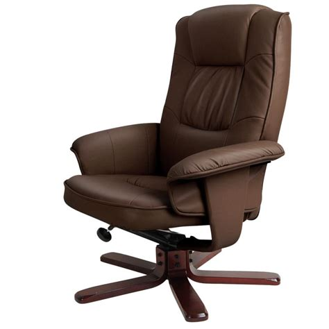 brown leather swivel chair brown swivel pu leather recliner armchair w ottoman buy 4940