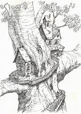 Coloring Tree Treehouse Pages Colouring Magic Drawing Treehouses Adult Printable Houses Drawings Sketchbook Project Sheets Fantasy Fairy Magical Dibujos Para sketch template
