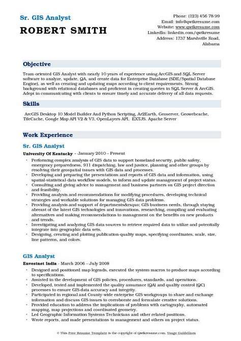 Gis Resume Format by Gis Analyst Resume Sles Qwikresume