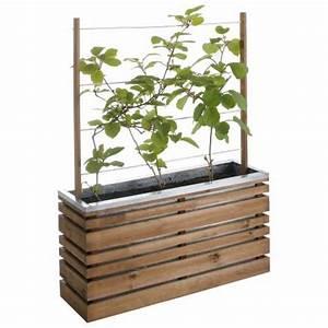 jardiniere bois et metal avec treillis lign z vente With chambre bébé design avec fleurs de bac