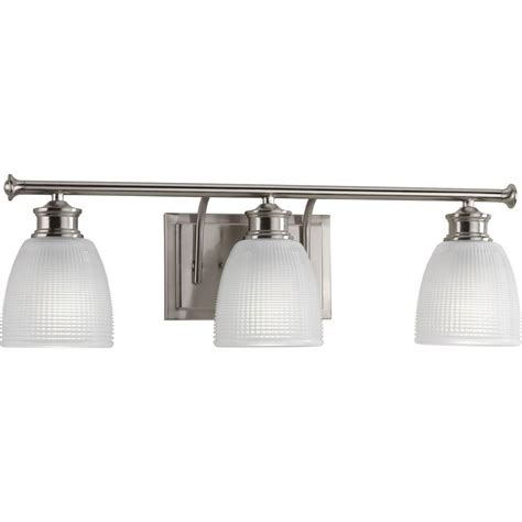 bathroom lighting collections progress lighting lucky collection 3 light brushed nickel