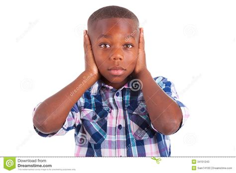 Black Stock Images American Boy Hiding Ears Black Stock