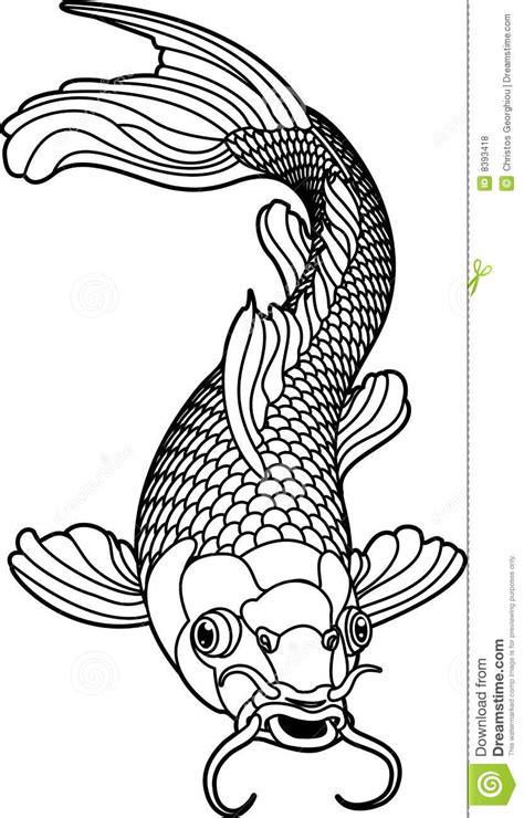 blanc noir de koi de poissons de carpe illustration de