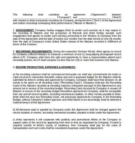 recording contract template   documents