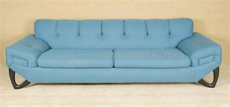 Vintage 1950's Atomic Blue Mid Century Modern Sofa