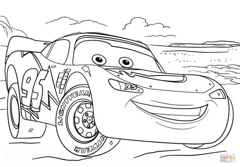 Lightning Mcqueen From Cars 3 Coloring Page Free