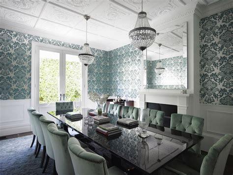 teal damask wallpaper transitional dining room denai