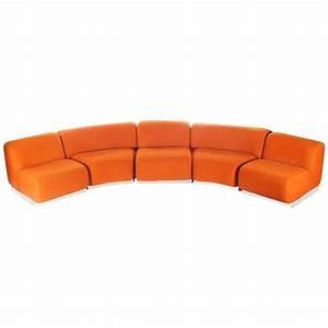 Curved or circular mid century modern modular sofa with for Mid century modern curved sectional sofa