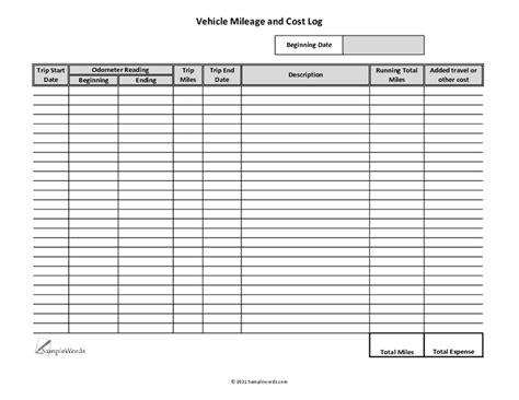 excel mileage log templates excel templates