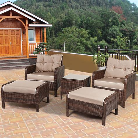Patio Lawn Furniture by Tangkula Wicker Furniture Set 5 Pieces Pe Wicker Rattan