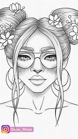 Coloring Printable Drawing Colour Tiktok Draw Adult Cool Drawings Coloriage Colouring Portrait Outline Stress Pdf Sketchbook Adults Topmodels Moaz Doaa sketch template