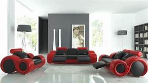 15 black red and white themed living rooms rilane With red and black furniture for living room