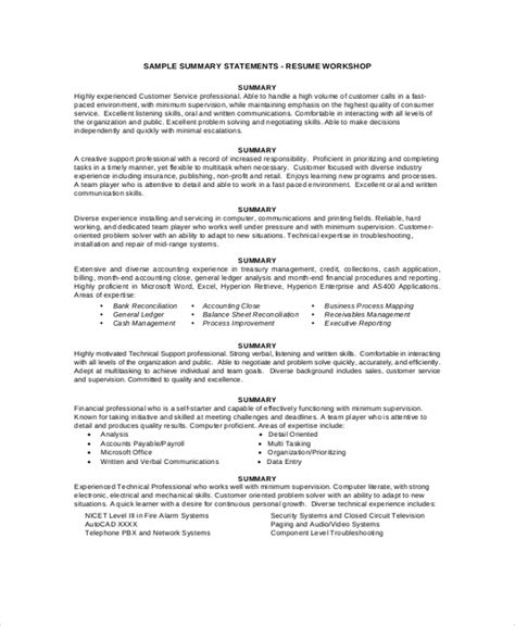 Business Analyst Summary Statement by 8 Resume Summary Sles Exles Templates