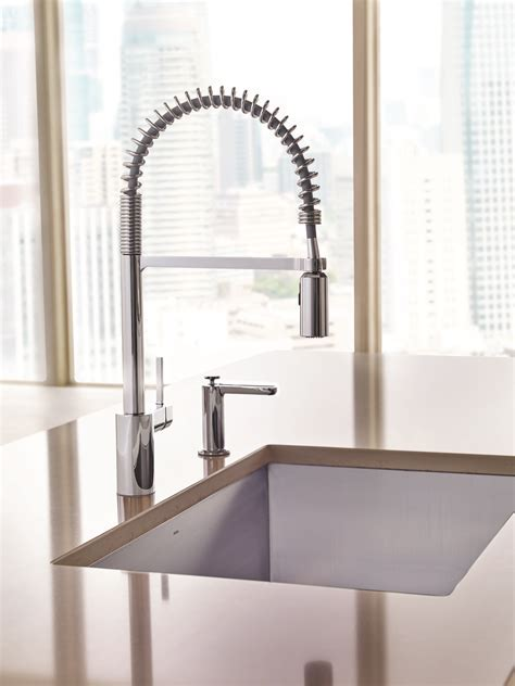 New Align® Pre Rinse Spring Kitchen Faucet From Moen