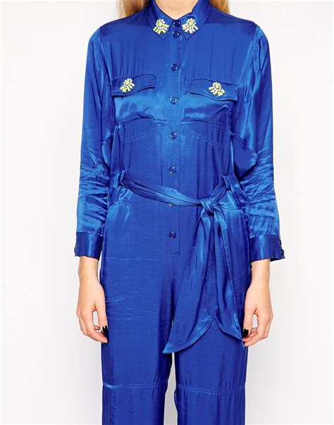 retro jumpsuit retro belted jumpsuit with embellished collar in