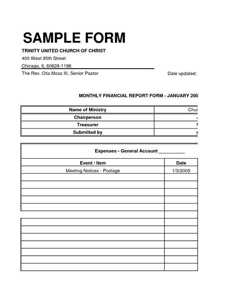 small church financial statement sample