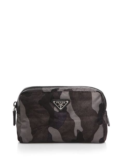 prada tessuto camouflage small cosmetic case  gray  men lyst