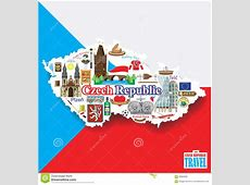 Czech Republic Background Set Vector Landmarks Icons And