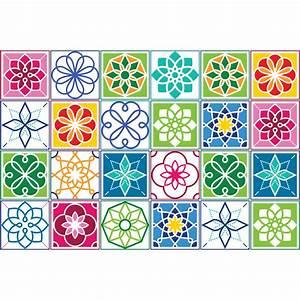Stickers Carreaux De Ciment : 24 stickers carreaux de ciment couleur cartagena art et ~ Premium-room.com Idées de Décoration