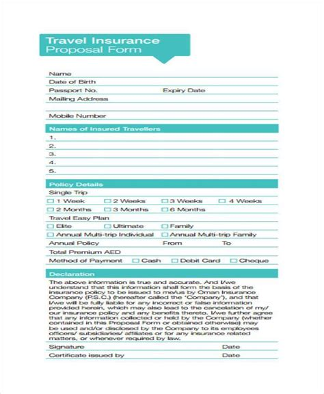 Annual trip plan listings for nationwide travel insurance. FREE 14+ Travel Proposal Forms in PDF   MS Word   Excel