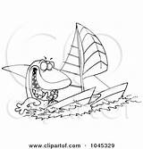 Catamaran Outline Sailing Cartoon Shark Boat Royalty Clip Toonaday Illustration Line Rf Clipart Sticker Template sketch template