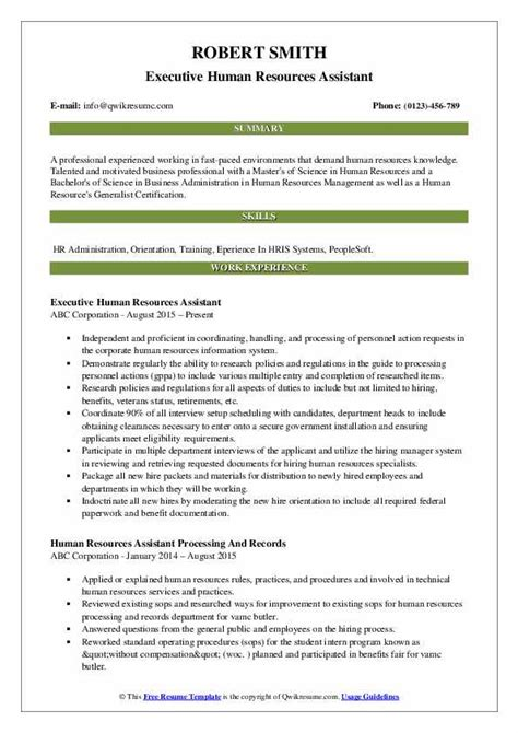human resources assistant resume samples qwikresume