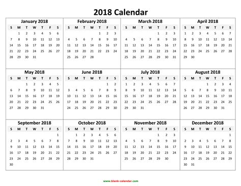 2018 Yearly Calendar Template Yearly Calendar 2018 Free And Print