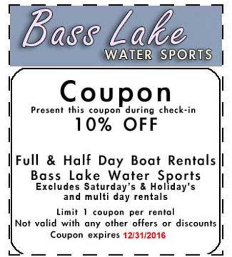 Bass Lake Boat Rentals Coupons by Discounts 10 Percent Coupon