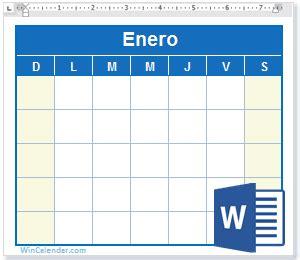 calendario word gratis plantillas en blanco