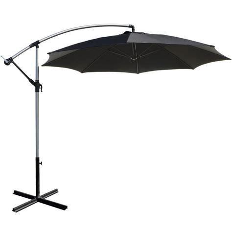 garden sun shades parasols 3m black overhanging garden parasol sun shade with crank mechanism
