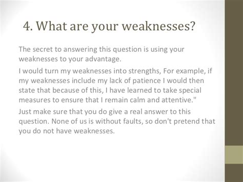 Strengths And Weaknesses Best Answers by Questions