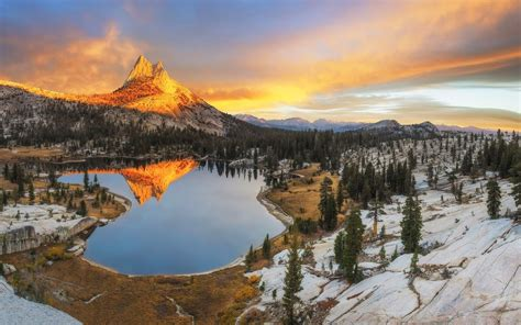 Landscape Nature Mountain Sunset Forest Snow Lake