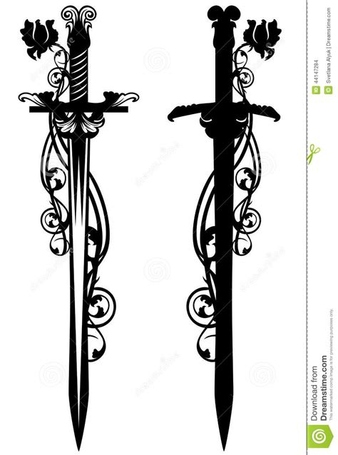Sword among roses stock vector. Illustration of flowers