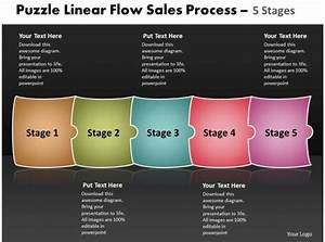 Puzzle Linear Flow Sales Process 5 Stages Best Flowchart