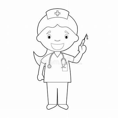 Nurse Coloring Cartoon Easy Illustration Series Clipart