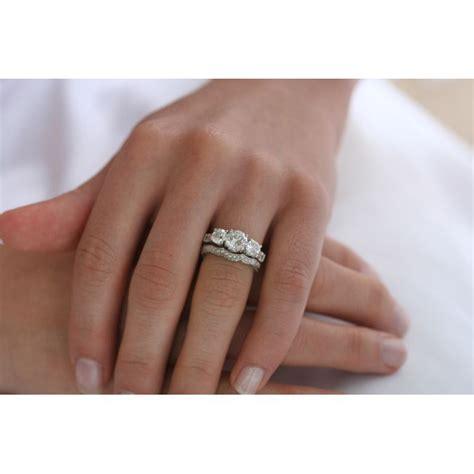 three stone past present future cz engagement ring set