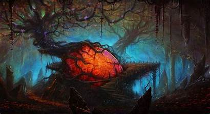 Forest Fantasy Heart Trees Spooky Creepy Backgrounds