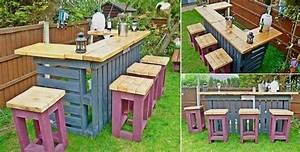Bar Exterieur De Jardin : 52 id es pour fabriquer votre meuble de jardin en palette ~ Teatrodelosmanantiales.com Idées de Décoration