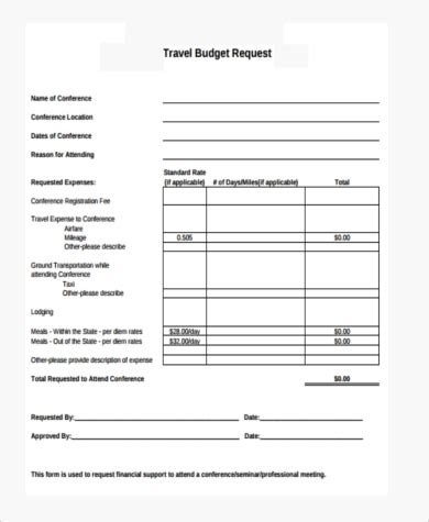 travel budget request template sle travel request forms 9 free documents in pdf