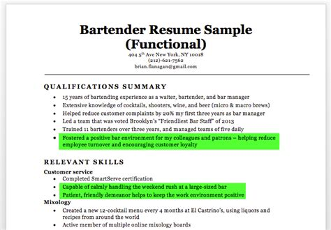 bartender resume sle writing tips resume companion