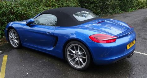 Blue Convertible Porsche Car Rear Free Stock Photo