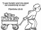 Feed Hungry Jesus Least Coloring Clipart Sunday God Feeding Poor 35 Unto Bible Gave Matthew Eat Did Something Lord Church sketch template