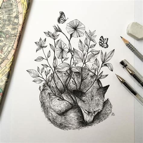 Trees Grow Into Majestic Animals Pen Ink